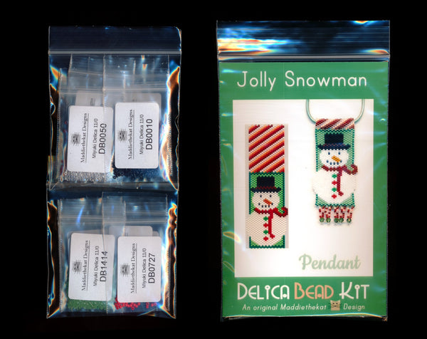 Jolly Snowman Pendant Delica Peyote Bead Pattern or KIT DIY Christmas