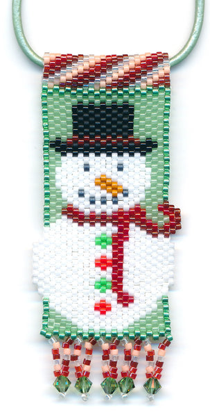 Jolly Snowman Peyote Seed Bead Pendant Necklace Christmas-Maddiethekat Designs