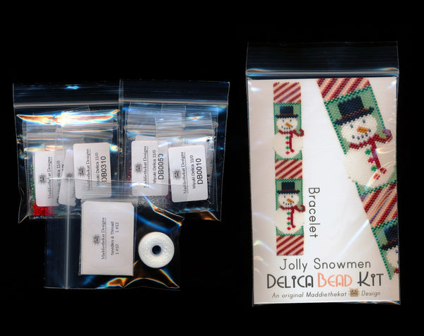 Jolly Snowmen Bracelet Delica Peyote Bead Pattern or KIT DIY Christmas Snowman