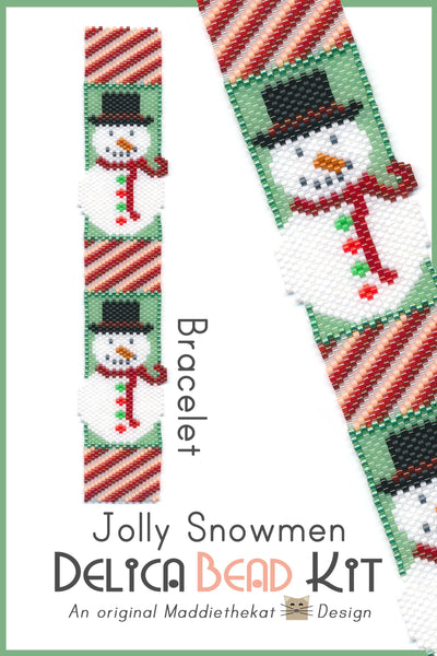 Jolly Snowmen Bracelet Delica Peyote Bead Pattern or KIT DIY Christmas Snowman-Maddiethekat Designs