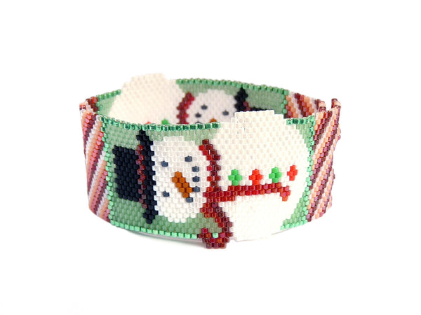 Jolly Snowmen Peyote Seed Beaded Bracelet Christmas Snowman-Maddiethekat Designs