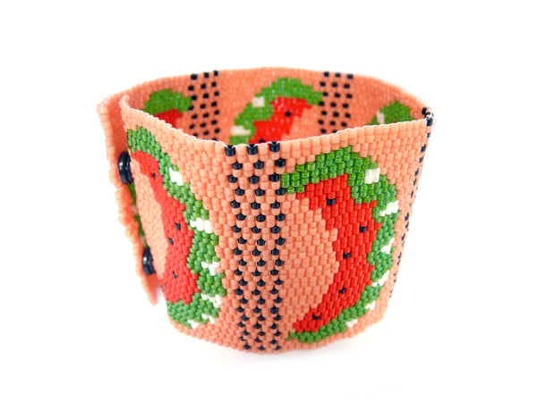 Juicy Watermelon Wide Cuff 2-Drop Peyote Seed Beaded Bracelet Fruit-Maddiethekat Designs