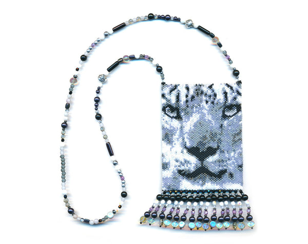 Leopard BW Small Panel Peyote Seed Bead Pattern PDF or KIT DIY-Maddiethekat Designs