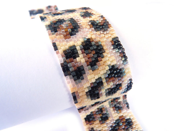 Leopard Fur Slim 2-Drop Peyote Seed Beaded Bracelet-Maddiethekat Designs