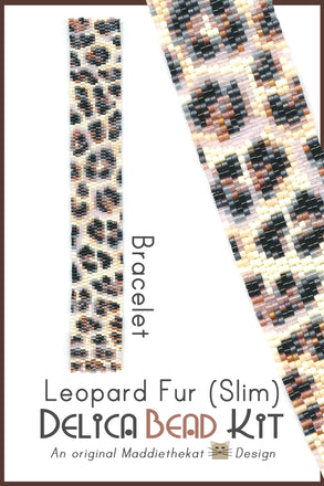 Leopard Fur Slim Bracelet Delica 2-Drop Peyote Seed Bead Pattern or KIT DIY Rosettes Spots-Maddiethekat Designs