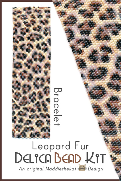 Leopard Fur Wide Cuff Bracelet Delica 2-Drop Peyote Seed Bead Pattern or KIT DIY Wild Rosettes Spots-Maddiethekat Designs