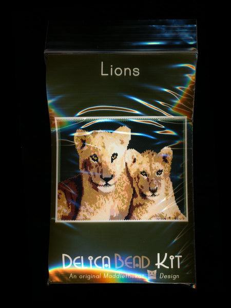 Lions Larger Panel Peyote Seed Bead Pattern PDF or KIT DIY-Maddiethekat Designs