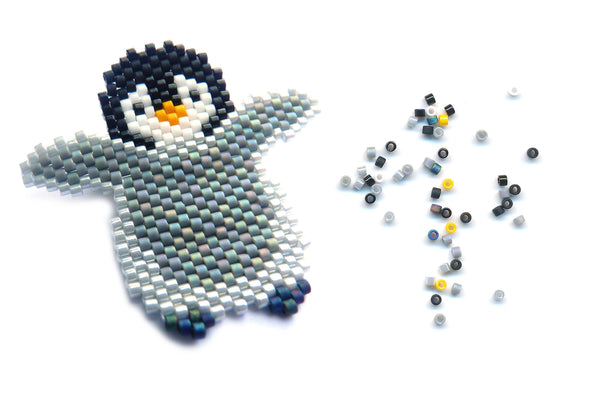 Made to Order - Baby Penguin Delica Seed Beaded Pin Bird Chick