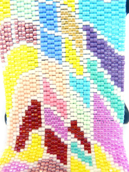 Chromatic Wide Cuff 2-Drop Peyote Seed Beaded Bracelet-Maddiethekat Designs