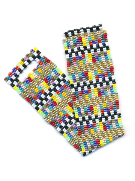 Colored Blocks 2-Drop Peyote Seed Beaded Bracelet Bright Multicolored-Maddiethekat Designs