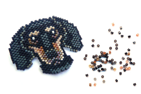 Made to Order - Dachshund Dog Delica Seed Beaded Pin Badger Doxy