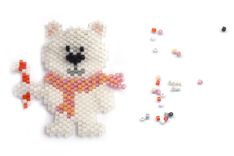 Made to Order - Winter Bear Delica Seed Beaded Pin - Christmas - Holiday - Polar
