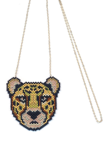 Metallic Cheetah Seed Beaded Pendant Necklace-Maddiethekat Designs