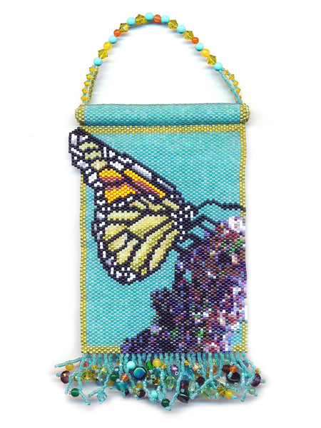 Monarch Butterfly Small Beaded Panel Mini Tapestry in Peyote-Maddiethekat Designs