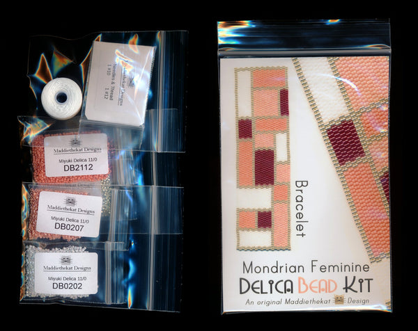 Mondrian Feminine Wide Cuff Bracelet Delica 2-Drop Peyote Bead Pattern or KIT DIY