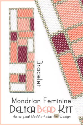 Mondrian Feminine Wide Cuff Bracelet Delica 2-Drop Peyote Bead Pattern or KIT DIY-Maddiethekat Designs