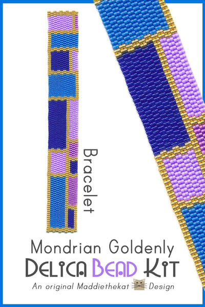 Mondrian Goldenly Slim Bracelet Delica 2-Drop Peyote Bead Pattern or KIT DIY-Maddiethekat Designs