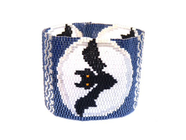Moon Bats Wide Cuff 2-Drop Peyote Seed Beaded Bracelet-Maddiethekat Designs