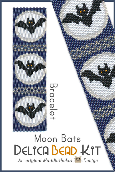 Moon Bats Wide Cuff Bracelet Delica Seed Bead 2-Drop Peyote Pattern or KIT DIY-Maddiethekat Designs