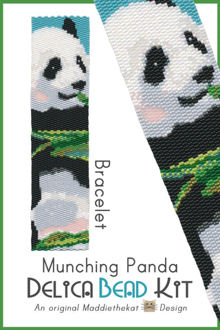Munching Panda Bear Wide Cuff Bracelet Delica 2-Drop Peyote Bead Pattern or KIT DIY