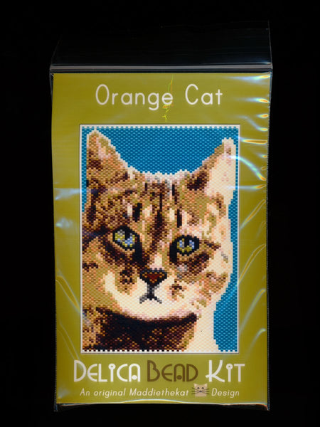 Orange Cat 01 Small Panel Peyote Seed Bead Pattern PDF or KIT DIY-Maddiethekat Designs