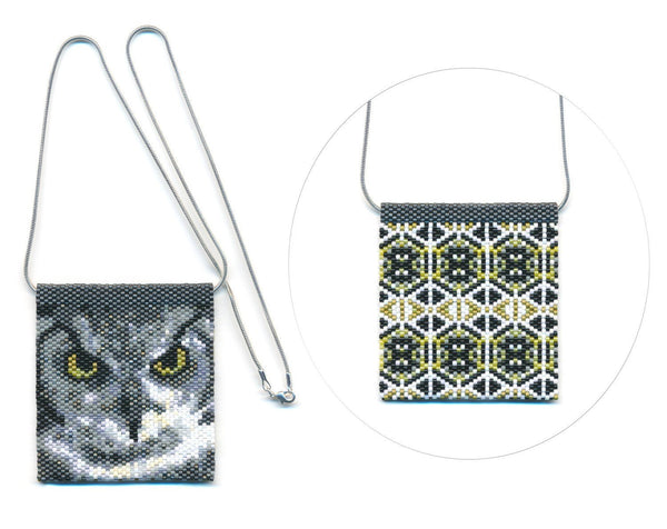 Owl 01 Tiny Mini Amulet Bag Peyote Bead Pattern PDF or KIT DIY Bird-Maddiethekat Designs