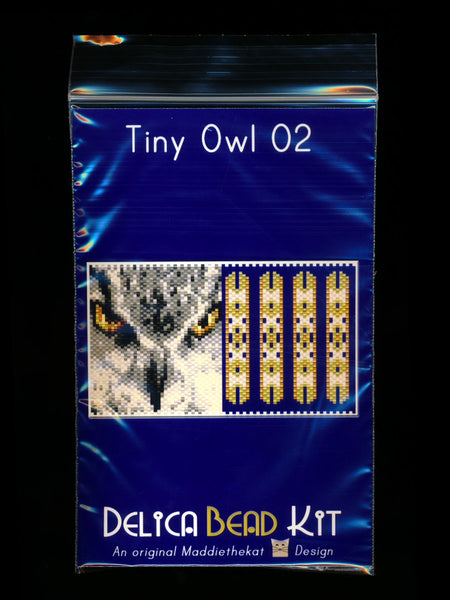Owl 02 Tiny Mini Amulet Bag Peyote Seed Bead Pattern or KIT DIY Bird-Maddiethekat Designs