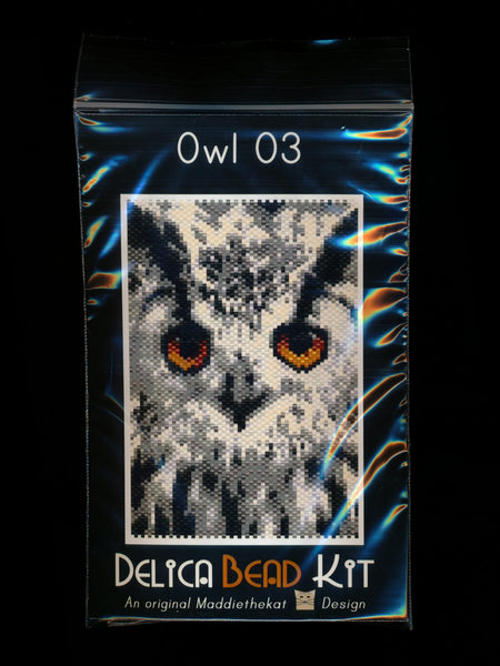 Owl 03 Small Panel Peyote Seed Bead Pattern PDF or KIT DIY Bird-Maddiethekat Designs