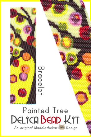Painted Tree Wide Cuff Bracelet Delica 2-Drop Peyote Bead Pattern or KIT DIY-Maddiethekat Designs