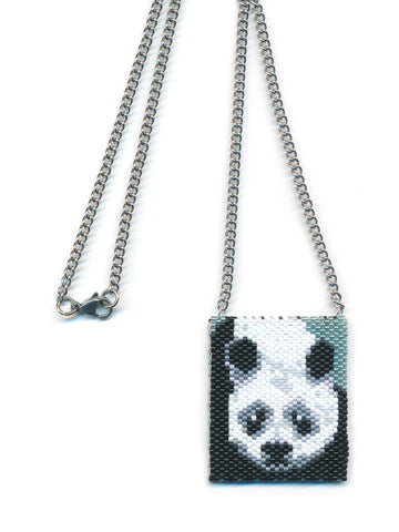 Panda Bear Peyote Beaded Necklace Mini Amulet Bag