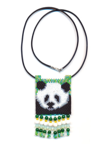 Panda Bear Peyote Beaded Necklace Mini Amulet Bag-Maddiethekat Designs