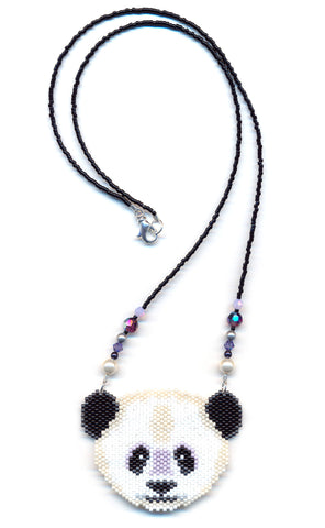 Panda Bear Seed Beaded Pendant Necklace-Maddiethekat Designs