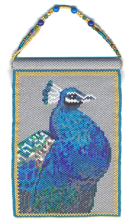 Peacock Beaded Panel Tapestry in Peyote - Wall Art - Bird