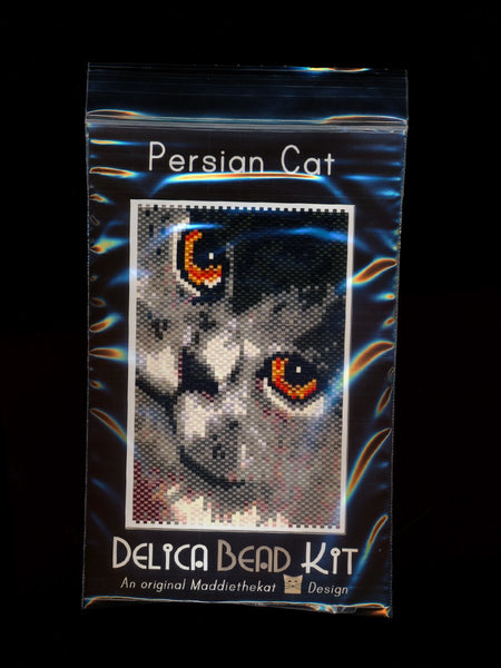 Persian Cat 01 Small Panel Peyote Seed Bead Pattern PDF or KIT DIY-Maddiethekat Designs