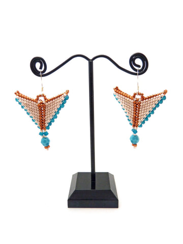 Persimmon Mocha Blue Taking Flight Beaded Earrings-Maddiethekat Designs