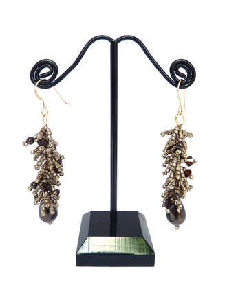Pewter Brown Rock Candy Seed Bead Dangle Earrings-Maddiethekat Designs