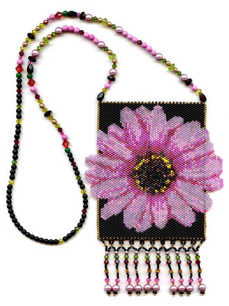 Pink Flower Peyote Beaded Amulet Bag Necklace-Maddiethekat Designs