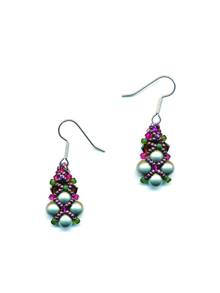 Powder Green and Cabernet Netted Beaded Earrings-Maddiethekat Designs