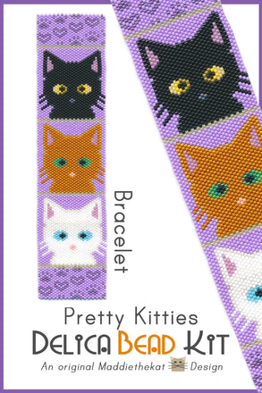 Pretty Kitties Bracelet Cuff Delica Peyote Bead Pattern or KIT DIY Cats Felines-Maddiethekat Designs