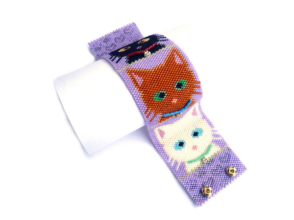 Pretty Kitties Cuff Peyote Seed Beaded Bracelet Cats-Maddiethekat Designs