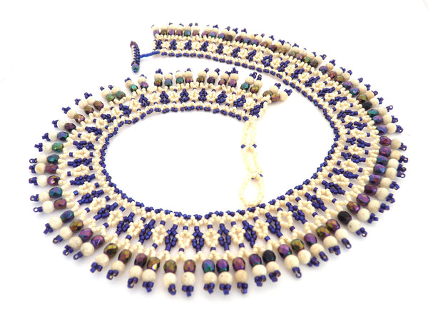 Purple and Cream Beaded Lace Choker Necklace-Maddiethekat Designs