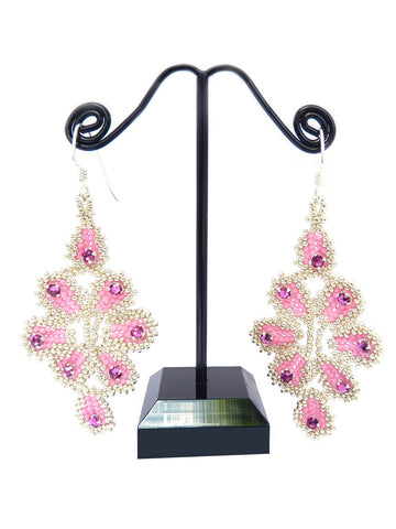 Ravenna Rose, Fuchsia and Silver Beaded Earrings-Maddiethekat Designs