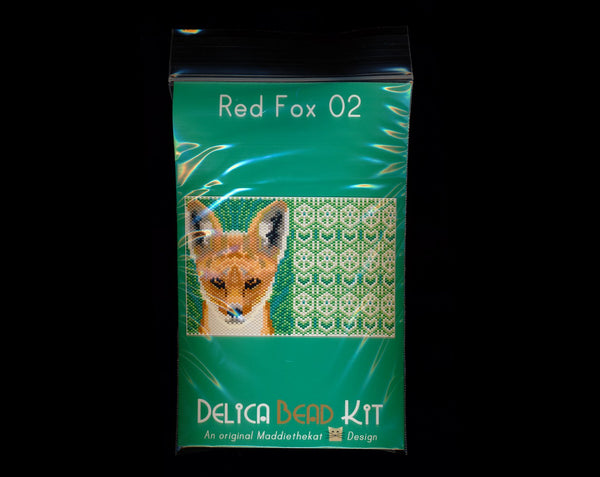 Red Fox 02 with Back Amulet Bag Peyote Seed Bead Pattern or KIT-Maddiethekat Designs