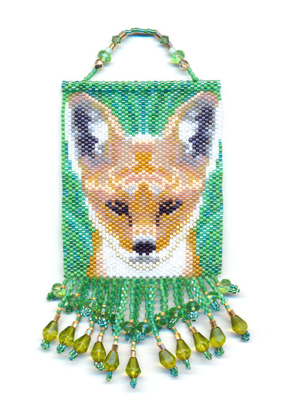 Red Fox Mini Beaded Panel Tapestry in Peyote-Maddiethekat Designs