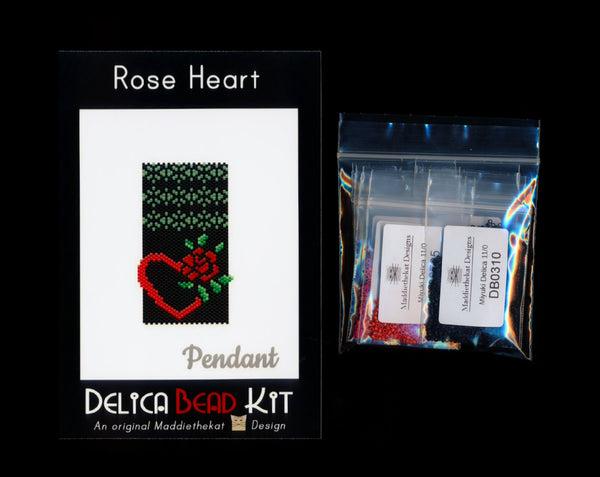 Red Rose Heart Pendant Delica Peyote Bead Pattern or KIT DIY-Maddiethekat Designs