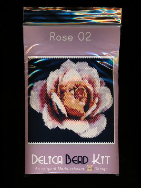 Rose 02 Small Panel Peyote Bead Pattern PDF or KIT DIY-Maddiethekat Designs