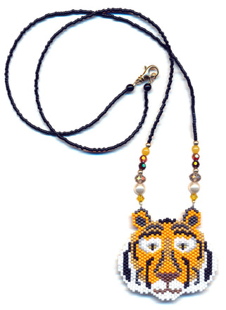 Tiger Wild Cat Seed Beaded Pendant Necklace-Maddiethekat Designs