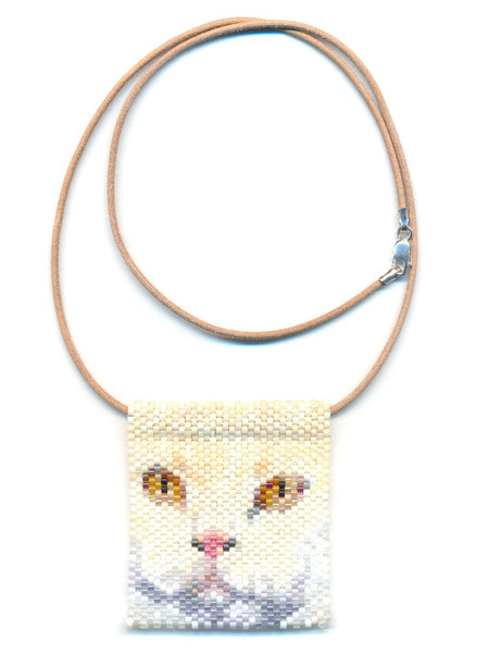 White Cat Face Peyote Beaded Necklace-Maddiethekat Designs