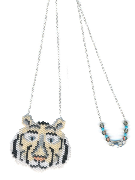 White Tiger Wild Cat Seed Beaded Pendant Necklace-Maddiethekat Designs