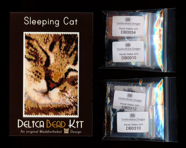 Sleeping Cat Small Panel Peyote Bead Pattern PDF or KIT DIY-Maddiethekat Designs